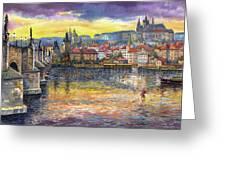 Prague Charles Bridge And Prague Castle With The Vltava River 1 Greeting Card