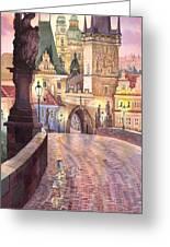 Prague Charles Bridge Night Light 1 Greeting Card