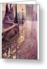 Prague Charles Bridge Night Light Greeting Card