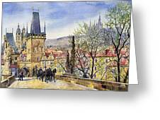 Prague Charles Bridge Spring Greeting Card