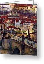 Prague Charles Bridge With The Prague Castle Greeting Card