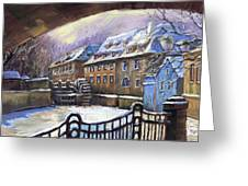 Prague Chertovka Winter 01 Greeting Card