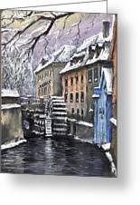 Prague Chertovka Winter Greeting Card by Yuriy  Shevchuk