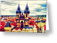 Prague Church Of Our Lady Before Tyn Watercolor Greeting Card