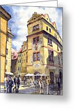Prague Karlova Street Hotel U Zlate Studny Greeting Card