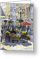 Prague Mustek First Heat Greeting Card by Yuriy  Shevchuk