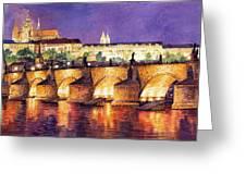 Prague Night Panorama Charles Bridge  Greeting Card by Yuriy  Shevchuk