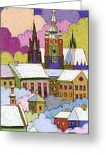 Prague Old Roofs Prague Castle Winter Greeting Card