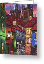 Prague Old Street 01 Greeting Card