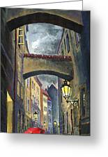 Prague Old Street Love Story Greeting Card