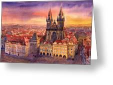 Prague Old Town Square 02 Greeting Card by Yuriy  Shevchuk