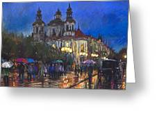 Prague Old Town Square St Nikolas Ch Greeting Card