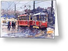 Prague Old Tram 01 Greeting Card