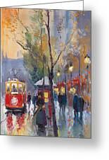 Prague Old Tram Vaclavske Square Greeting Card