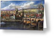 Prague Panorama Charles Bridge Prague Castle Greeting Card