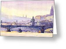 Prague Panorama Chehuv Bridge Greeting Card