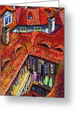 Prague Roofs 01 Greeting Card