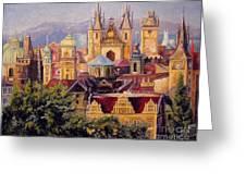 Prague. Roofs. Greeting Card