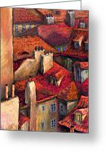 Prague Roofs Greeting Card