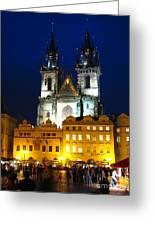 Prague Tower At Night Greeting Card