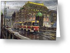 Prague Tram Legii Bridge National Theatre Greeting Card