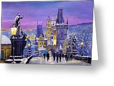 Prague Winter Charles Bridge 3 Greeting Card