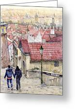 Prague Zamecky Schody Castle Steps Greeting Card
