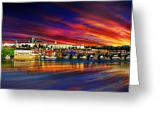 Pragues Historic Charles Bridge Greeting Card