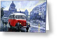 Praha Rnd Bus 1950 Skoda 706 Ro Greeting Card