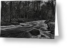 Prairie River Whitewater Black And White Greeting Card