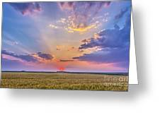 Prairie Sunset With Crepuscular Rays Greeting Card