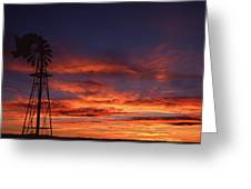 Prairie Sunset With Windmill Greeting Card
