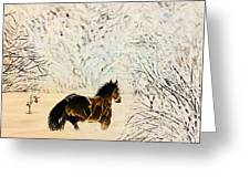 Prancing Through The Snow Greeting Card