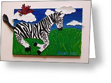 Prancing Zebra And Bird Greeting Card