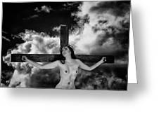 Praying On Cross Greeting Card