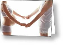 Pregnant Woman Holding Hands With A Man. Greeting Card