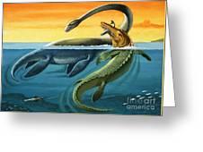 Prehistoric Creatures In The Ocean Greeting Card
