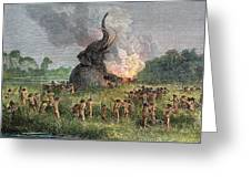 Prehistoric Mammoth Hunt Greeting Card