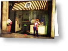 Preparing The Ice Cream Shop Greeting Card