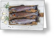 Preparing Trout For Dinner  Greeting Card