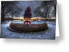 Prescott Park Christmas Tree Greeting Card by Eric Gendron