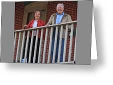 President And Mrs Carter On Plains Inn Balcony Greeting Card
