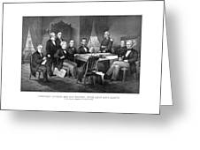 President Lincoln His Cabinet And General Scott Greeting Card