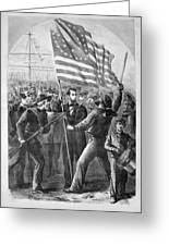 President Lincoln Holding The American Flag Greeting Card