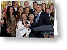 President Obama Honors Us Womens Soccer Team At White House #1 Greeting Card