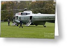 President Obama Walking Toward Marine One Greeting Card