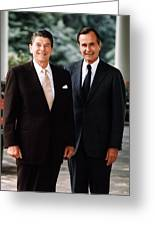 President Reagan And George H.w. Bush - Official Portrait  Greeting Card