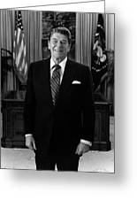President Ronald Reagan In The Oval Office Greeting Card