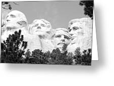 Presidents Of Mount Rushmore Framed By South Dakota Forest Trees Panoramic Black And White Greeting Card