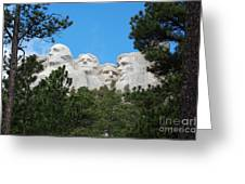 Presidents Of Mount Rushmore Framed By South Dakota Forest Trees Greeting Card